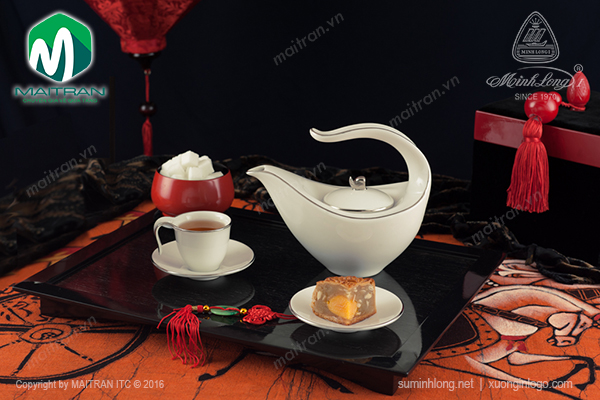 bộ trà gốm sứ anh vũ