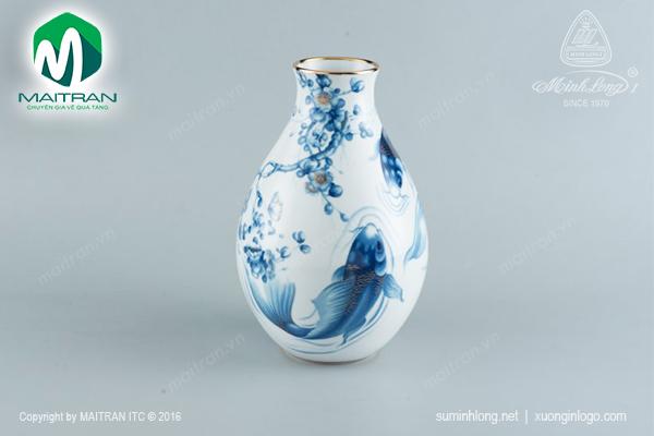 Bình hoa Cá Chép Cobal sứ Minh Long
