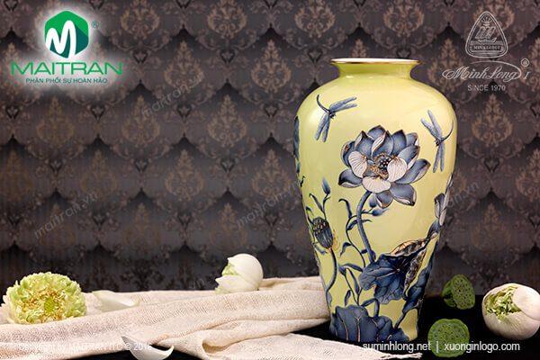 Bình hoa gốm sứ Minh Long Sen nền vàng 40cm