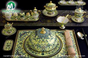 Bộ bàn ăn gốm sứ Minh Long Hoàng Liên 29 sản phẩm