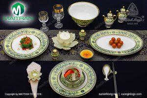 Bộ bàn ăn gốm sứ Minh Long Hoàng Liên 40 sản phẩm