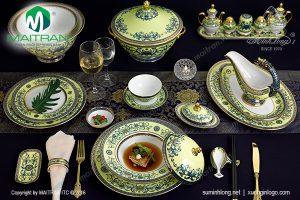 Bộ bàn ăn gốm sứ Minh Long Hoàng Liên 82 sản phẩm