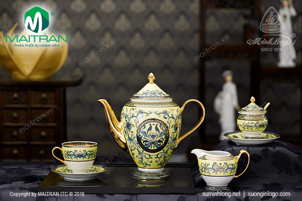 Bộ cà phê gốm sứ Minh Long Hoàng Liên 1.5L