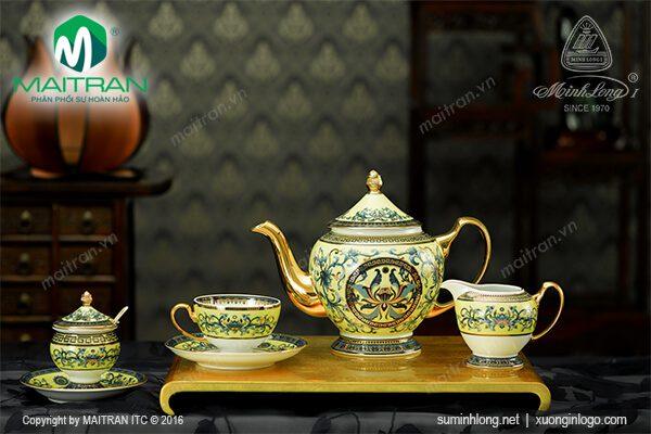Bộ trà gốm sứ Minh Long Hoàng Liên 1.3L