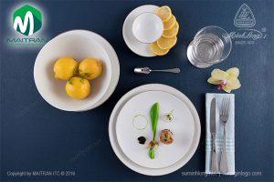 Bộ bàn ăn gốm sứ Minh Long Daisy IFP viền chỉ vàng 11 sản phẩm