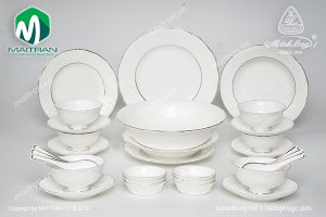 Bộ bàn ăn gốm sứ Minh Long Đài Các Chỉ Bạch Kim 30 sản phẩm