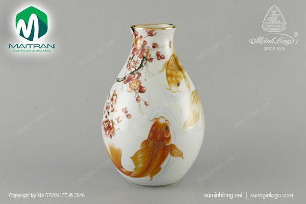 Bình hoa gốm sứ Minh Long Cá Chép