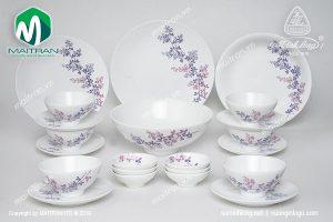 Bộ bàn ăn gốm sứ Minh Long Daisy cỏ tím 22 sản phẩm