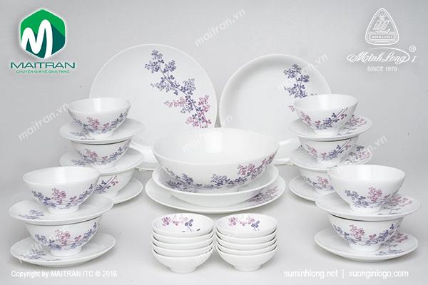 Bộ bàn ăn gốm sứ Minh Long Daisy Cỏ Tím 35 sản phẩm