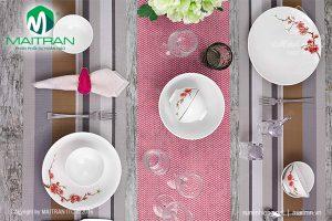 Bộ bàn ăn gốm sứ Minh Long Daisy IFP Hoàng Đào 9 sản phẩm