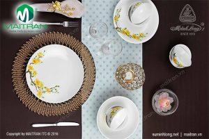 Bộ bàn ăn gốm sứ Minh Long Daisy IFP Hoàng Mai 9 sản phẩm