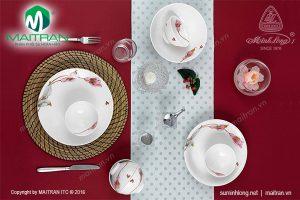 Bộ bàn ăn gốm sứ Minh Long Daisy IFP Loa Kèn Hồng 9 sản phẩm