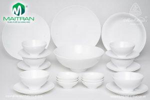 Bộ bàn ăn gốm sứ Minh Long Daisy Trắng 22 sản phẩm