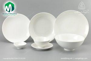 Bộ bàn ăn gốm sứ Minh Long Daisy IFP trắng 11 sản phẩm