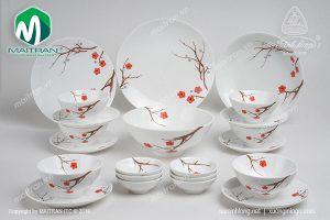 Bộ bàn ăn gốm sứ Minh Long Daisy Hồng Mai 22 sản phẩm