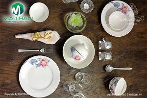 Bộ bàn ăn gốm sứ Minh Long Jasmine IFP Trà Mi 9 sản phẩm