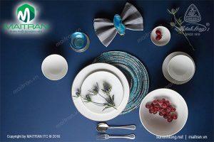 Bộ bàn ăn gốm sứ Minh Long Jasmine IFP viền chỉ vàng 9 sản phẩm
