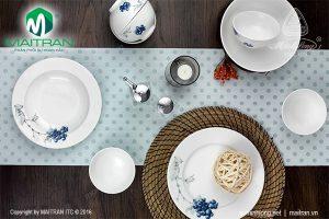 Bộ bàn ăn gốm sứ Minh Long Jasmine Việt Quất 9 sản phẩm