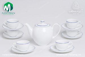 Bộ trà gốm sứ Minh Long Camellia chỉ xanh dương 0.8L