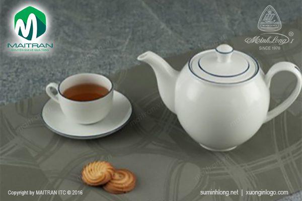 Bộ trà gốm sứ Minh Long Camellia chỉ xanh dương 1.1L