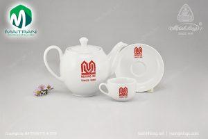 Bộ trà gốm sứ Minh Long Camelia in logo MEKONG