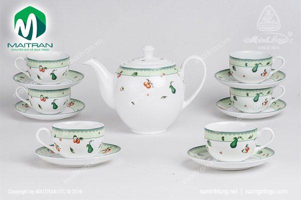 Bộ trà gốm sứ Minh Long Camellia Quả Ngọt 1.1L