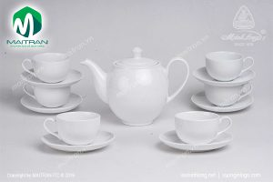 Bộ trà gốm sứ Minh Long Camellia trắng 0.8L