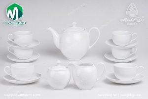 Bộ trà gốm sứ Minh Long Camellia trắng 1.1L