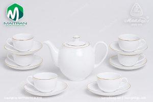 Bộ trà gốm sứ Minh Long Camellia viền chỉ vàng 0.8L