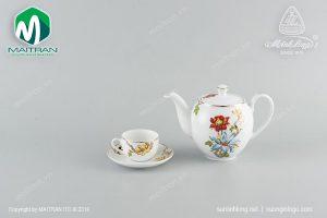 Bộ trà gốm sứ Minh Long Cát Tường 0.8L