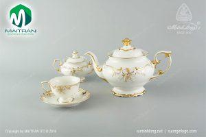Bộ trà gốm sứ Minh Long Đài Các Hoa Vàng 1.3L