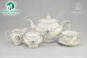 Bộ trà gốm sứ Minh Long Đài Các Trang Trí Bạch Kim 1.3L