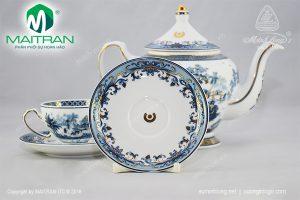 bộ trà gốm sứ minh long hồn việt vàng in logo ACB