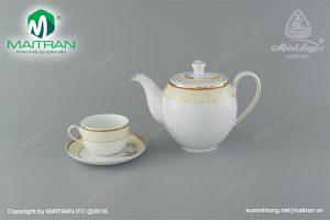 Bộ trà gốm sứ Minh Long Hương Biển Kem 0.8L