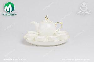 Bộ trà gốm sứ Minh Long Sen IFP viền chỉ vàng 0.3L