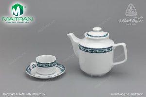 Bộ trà gốm sứ Minh Long Jasmine Chim Lạc 0.7L