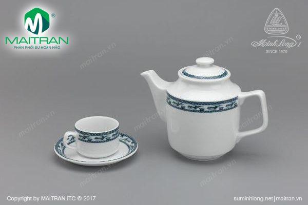 Bộ trà gốm sứ Minh Long Jasmine Chim Lạc 1.1L