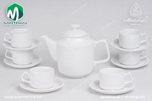 Bộ trà gốm sứ Minh Long Jasmine trắng 1.1L
