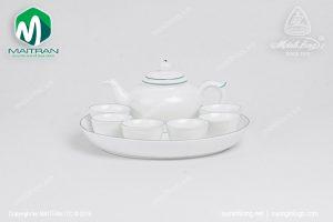 Bộ trà gốm sứ Minh Long Jasmine chỉ xanh lá 0.35L