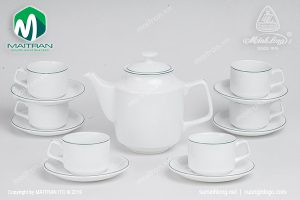 Bộ trà gốm sứ Minh Long Jasmine chỉ xanh lá 0.7L
