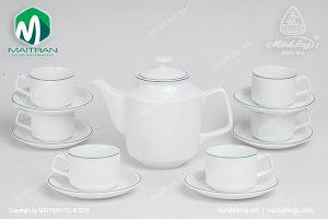 Bộ trà gốm sứ Minh Long Jasmine chỉ xanh lá 1.1L