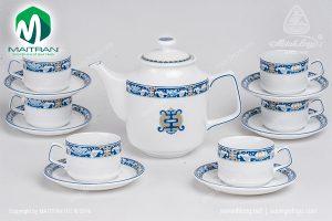 Bộ trà gốm sứ Minh Long Jasmine Phúc Lộc Thọ 1.1L