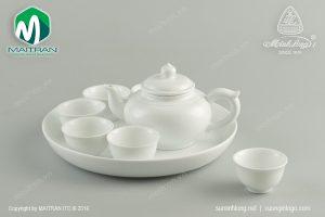 Bộ trà gốm sứ Minh Long Jasmine trắng 0.35l