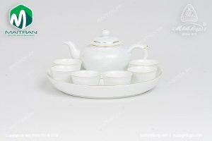 Bộ trà gốm sứ Minh Long Jasmine viền chỉ vàng 0.35L