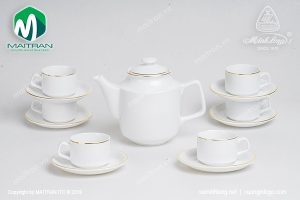 Bộ trà gốm sứ Minh Long Jasmine viền chỉ vàng 0.7L
