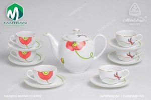 Bộ trà gốm sứ Minh Long Kết Duyên 0.8L