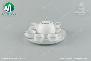 Bộ trà gốm sứ Minh Long Mẫu Đơn IFP chỉ bạch kim 0.3L