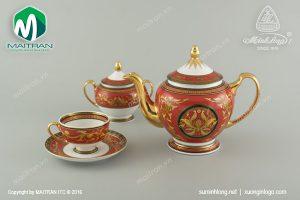 Bộ trà gốm sứ Minh long Quốc Sắc 0.8L