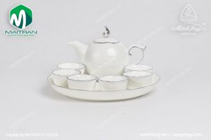 Bộ trà gốm sứ Minh Long Sen IFP chỉ bạch kim 0.3L