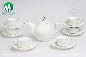 Bộ trà gốm sứ Minh Long Sen IFP chỉ bạch kim 0.7L